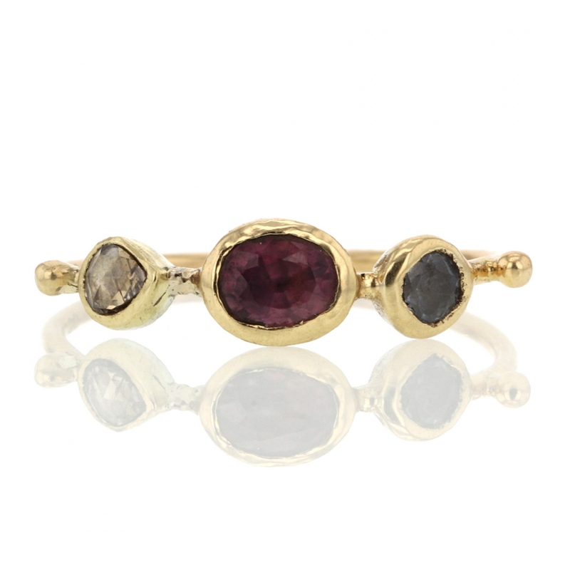 Garnet, Blue Sapphire and Diamond Simple Ring