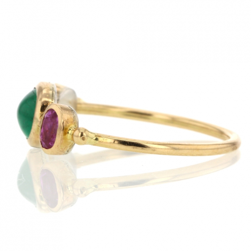 Emerald, Spinel and White Sapphire Simple Ring