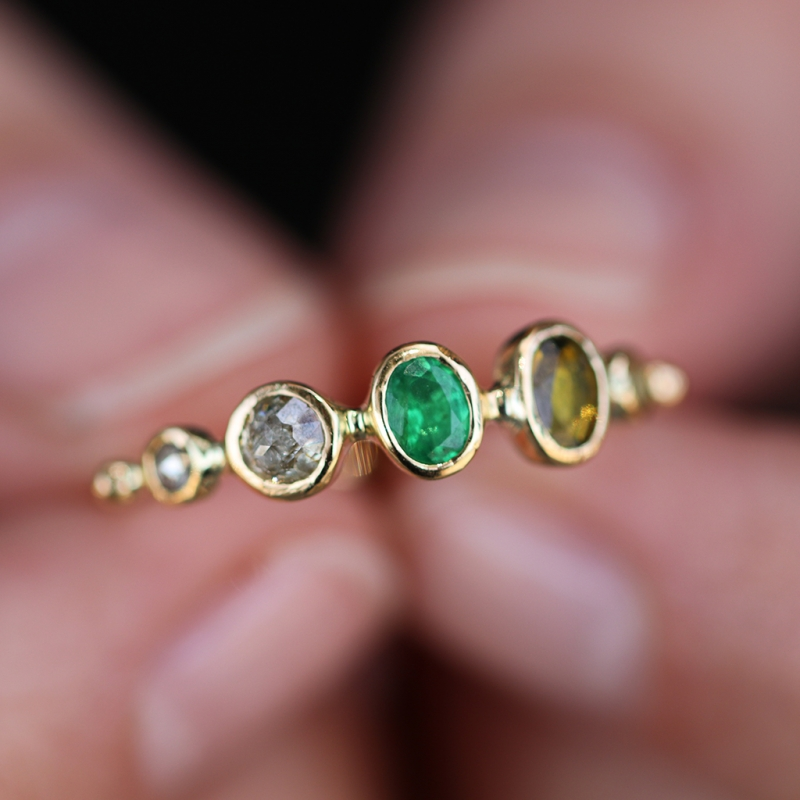 Tourmaline Emerald Sapphire and Diamond Band