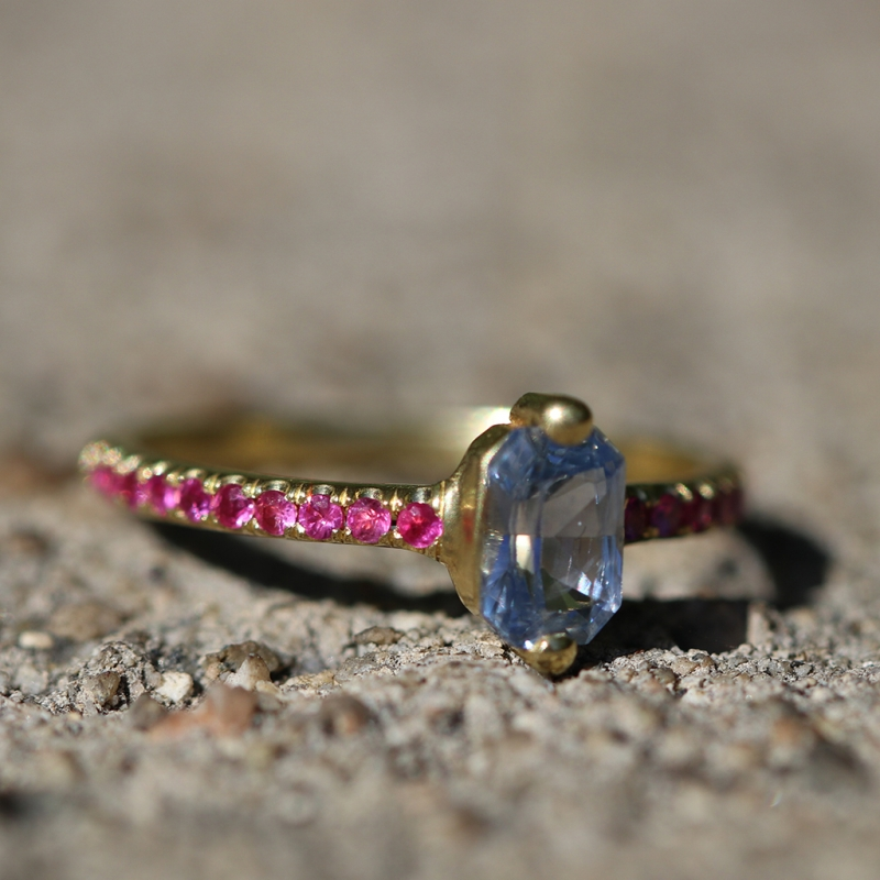 Sapphire Ring with Ruby Pave