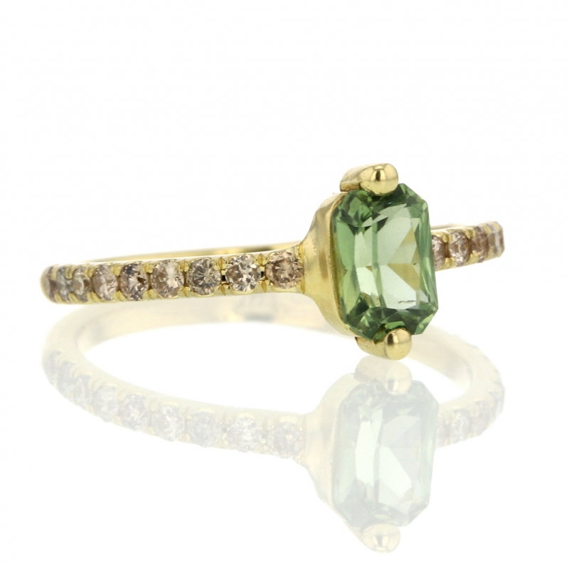 Green Sapphire and Champagne Diamond Ring