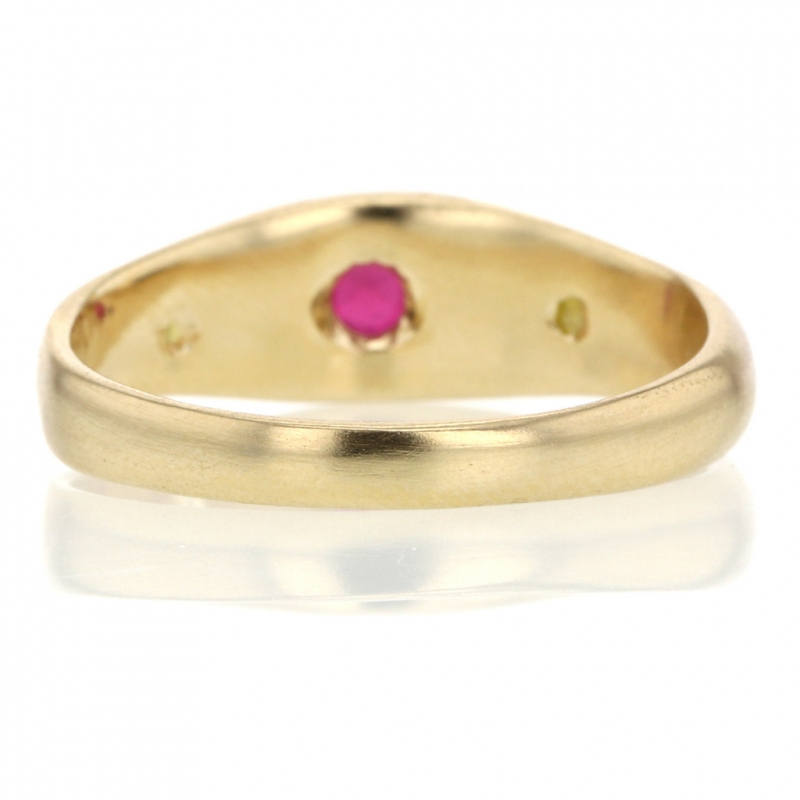 Ruby and Colored Diamond Gold Ring