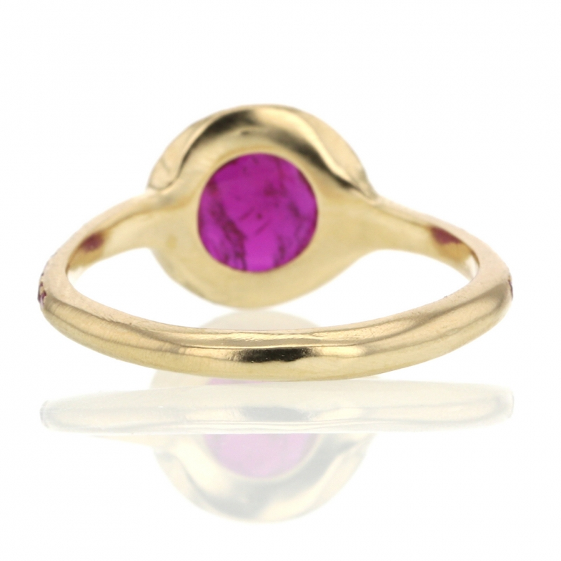 Ruby Gold Ring with Ruby Pave Halo