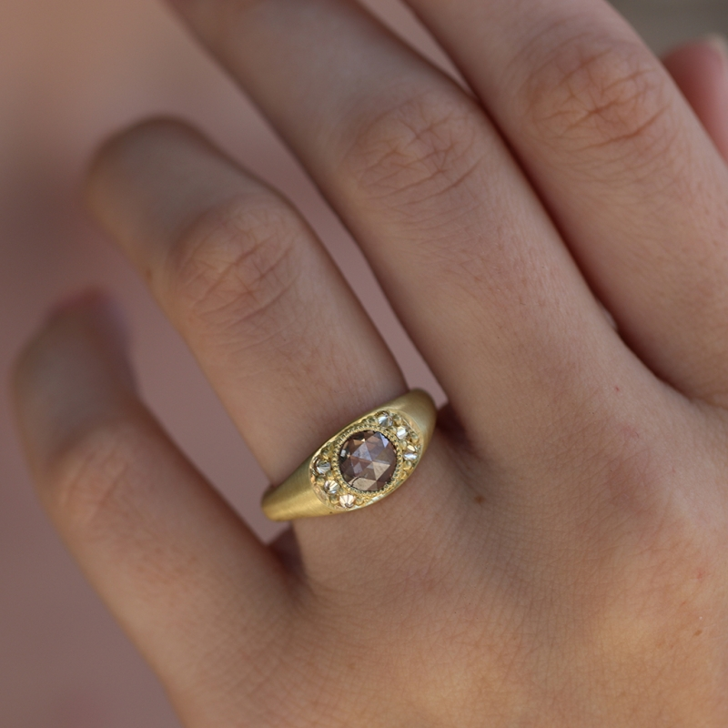 18k Gold Champagne Diamond Ring