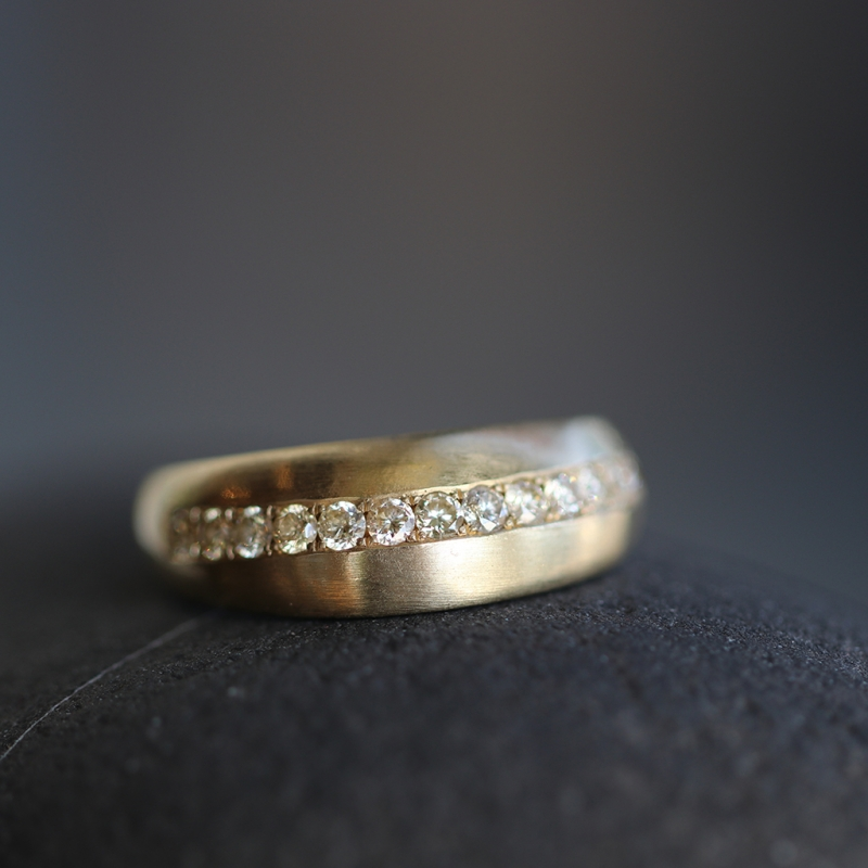 Diamond Satin Finish Gold Arched Ring
