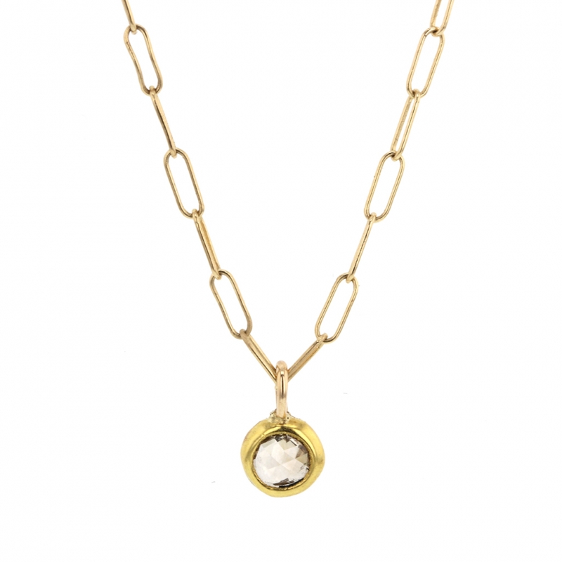 Champagne Diamond Drop Gold Link Chain Necklace