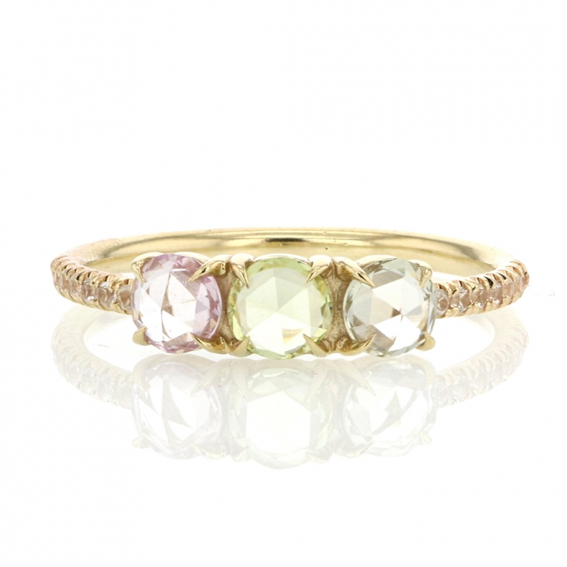 Triple Pastel Sapphire Ring with White Sapphire Pave