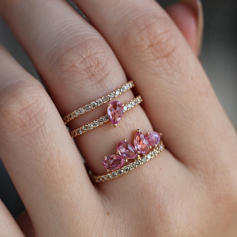 Diamond and Pink Sapphire 18k Rose Gold Ring