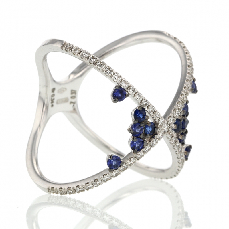 18k White Gold Diamond and Scattered Sapphire X Ring
