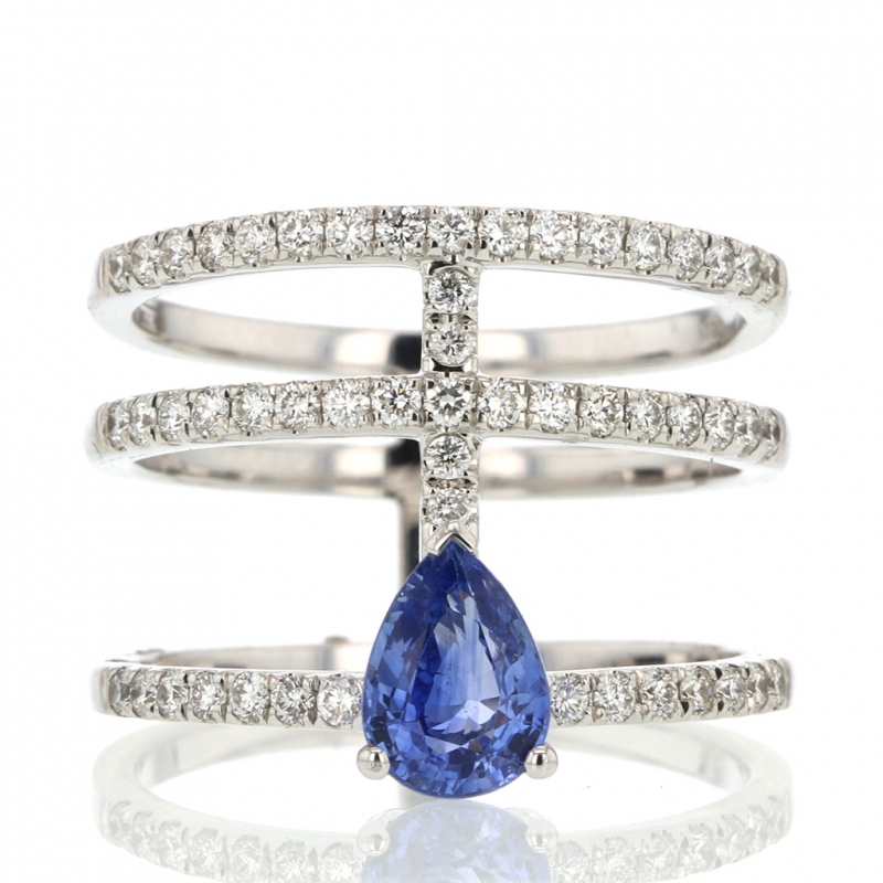 Diamond and Sapphire 18k White Gold Ring