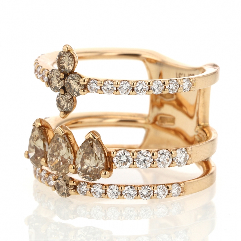 White and Colored Diamond Gold Ring