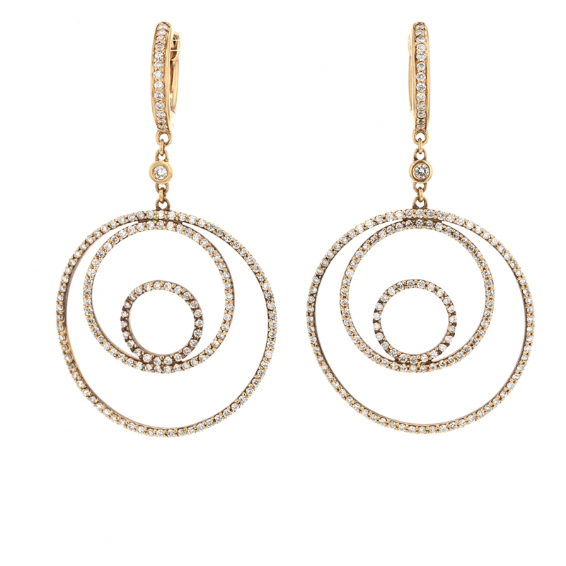 Circle and Diamond 18k Rose Gold Hanging Earrings