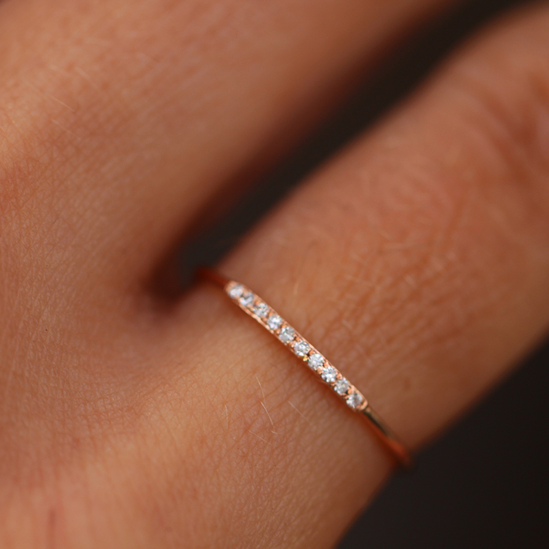 Rose Gold Thin Diamond Half Band