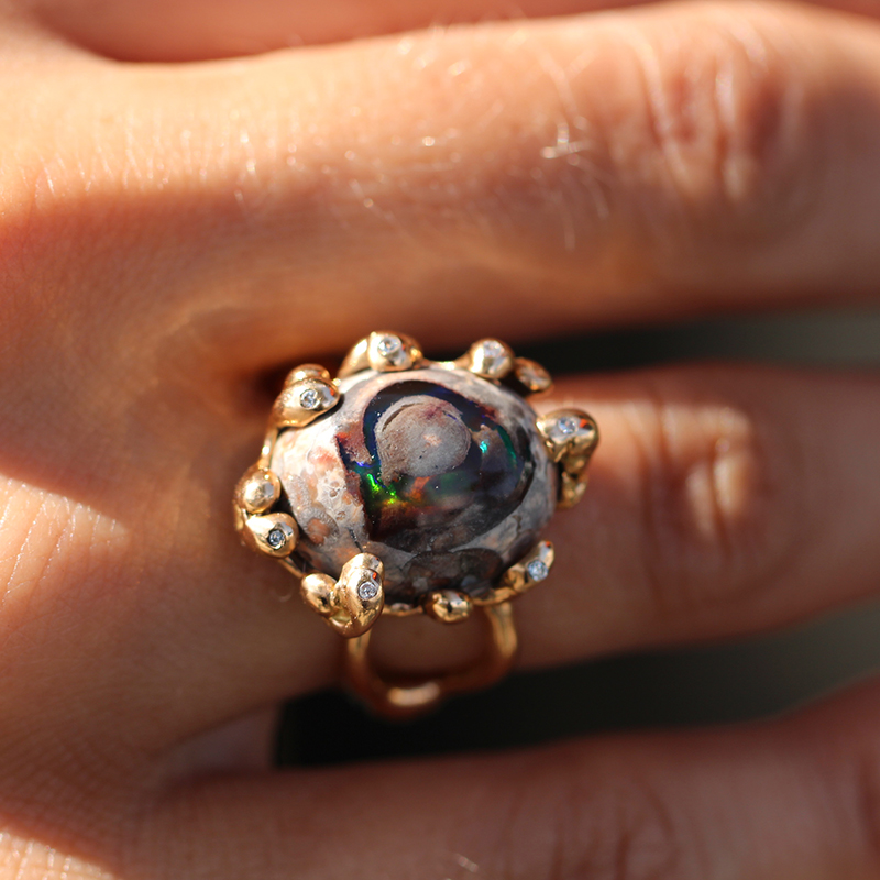 Mexican Matrix Rose Gold Opal Diamond Ring