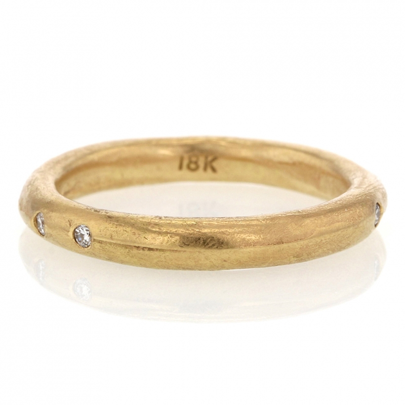 Perfect Gold Band with Six Diamonds