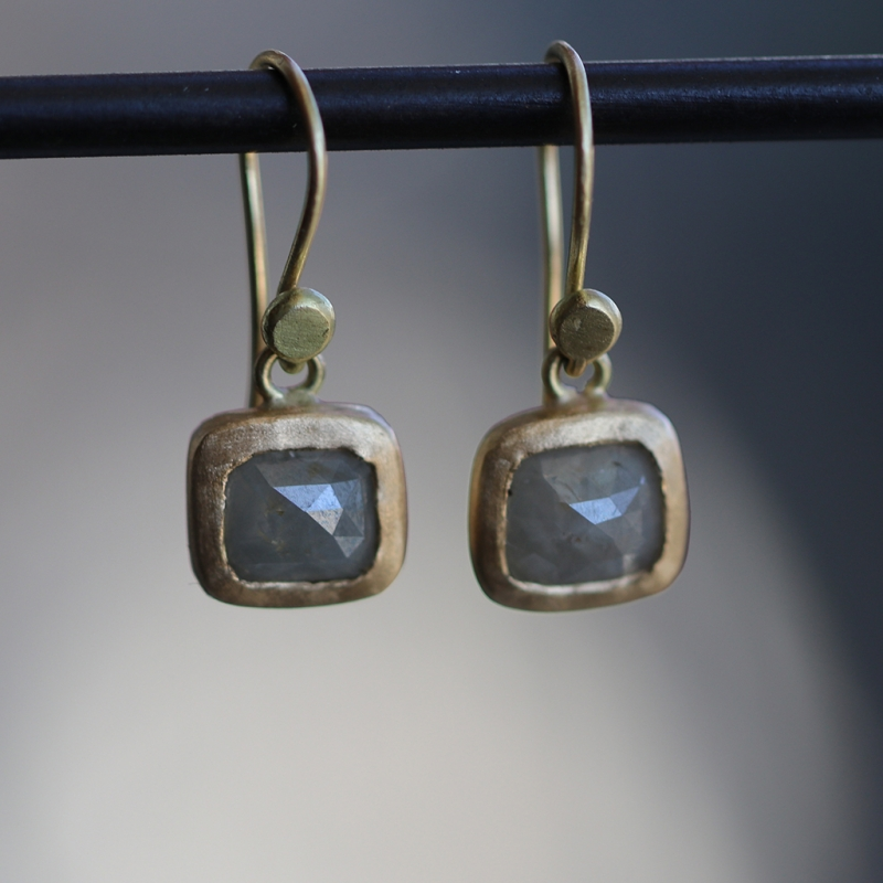 Pale Green Gray Diamond Earrings