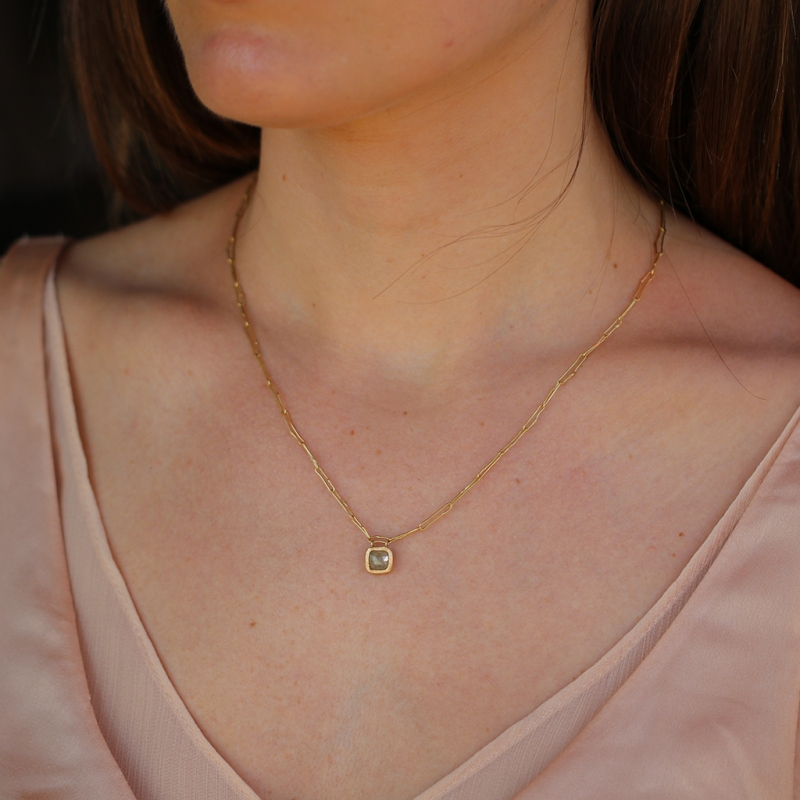 Pale Yellow Grey Diamond Necklace