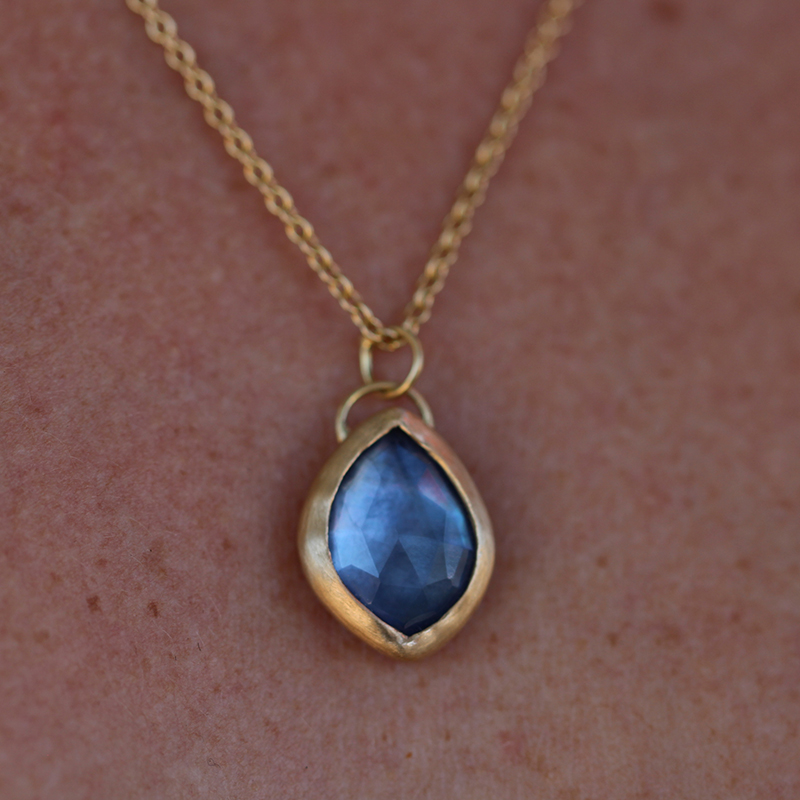 Crystal Quartz, Moonstone and Blue Sapphire Gold Necklace