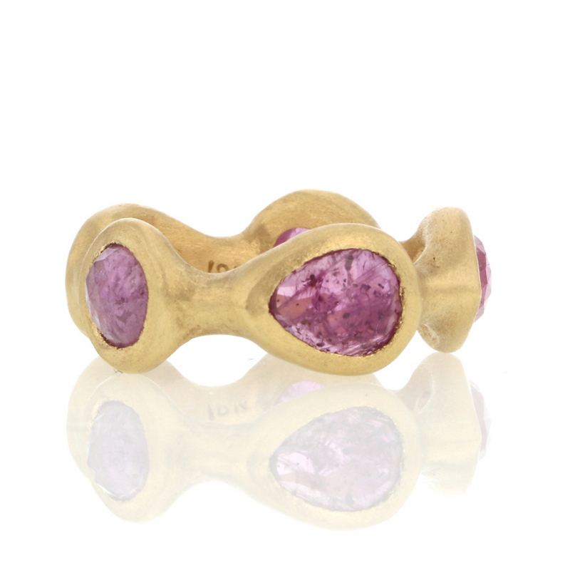 Pink Sapphire Sculpted Eternity Band