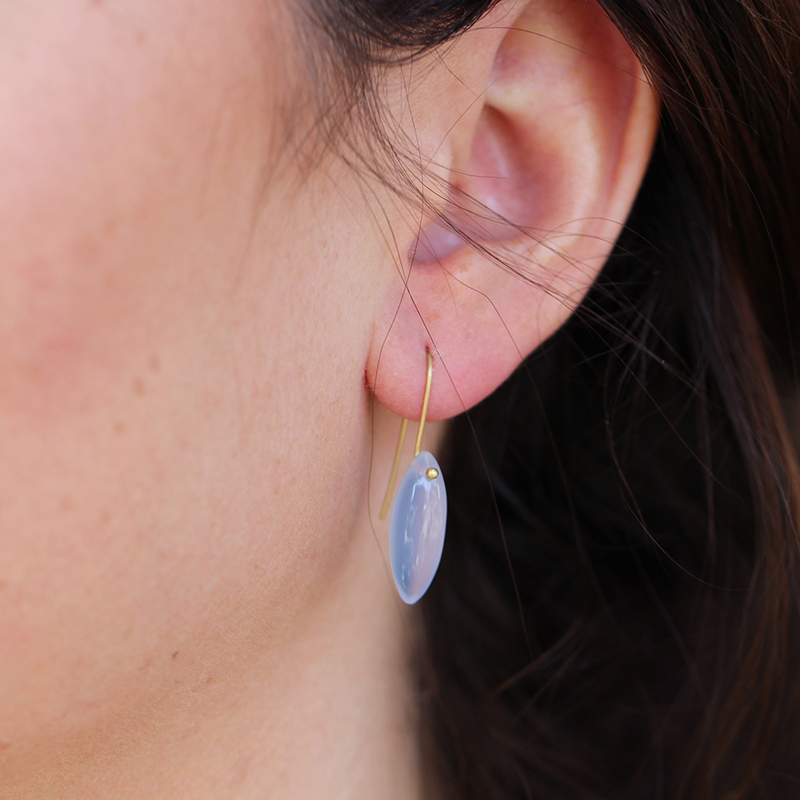 Blue Chalcedony Gold Seed Earrings