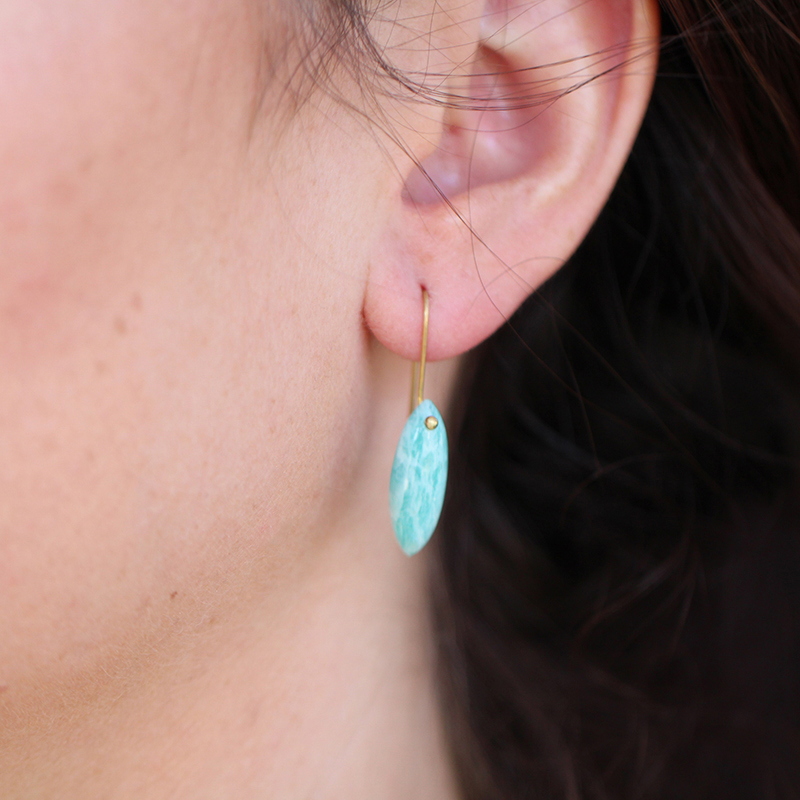 Amazonite Gold Seed Earrings