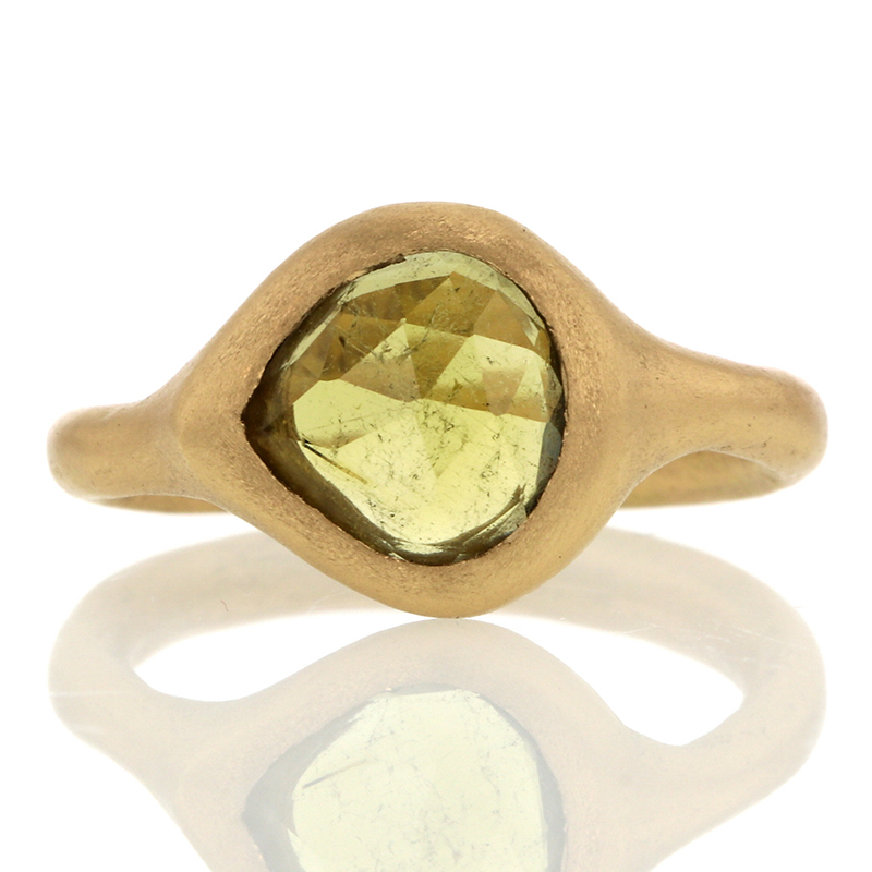 Olive Colored Tourmaline Gold Ring