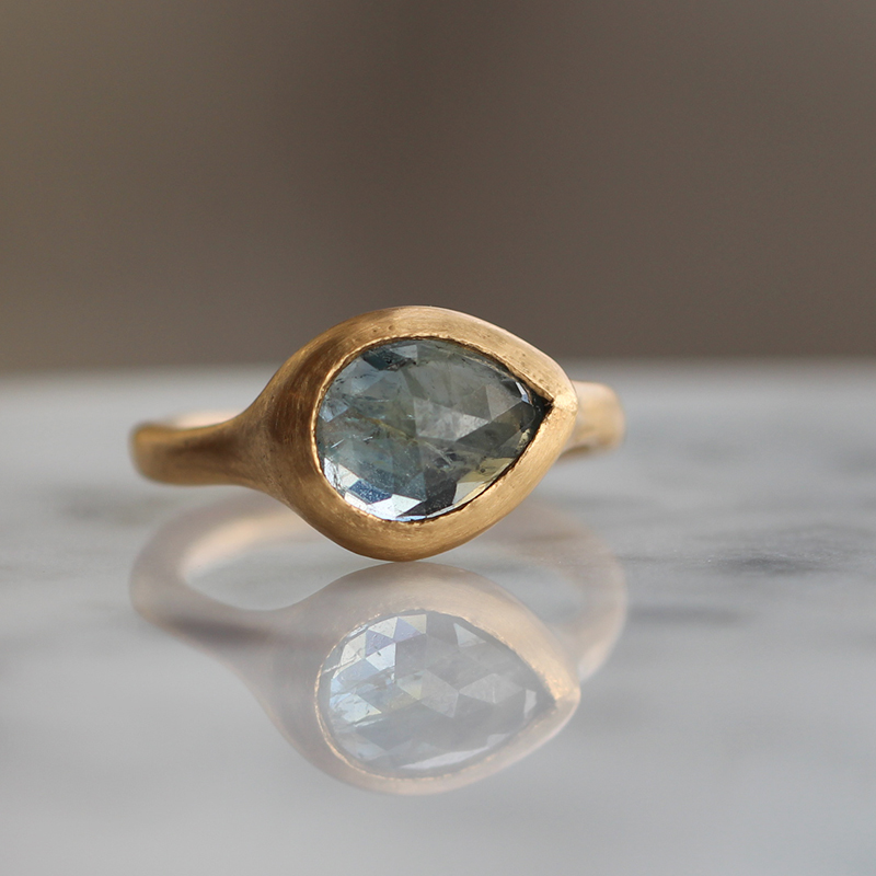 Medium Blue Sapphire Teardrop Gold Ring