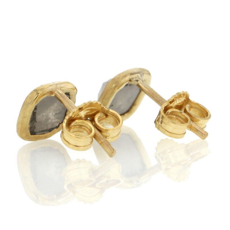 Smokey Grey Rose Cut Diamond Gold Stud Earrings