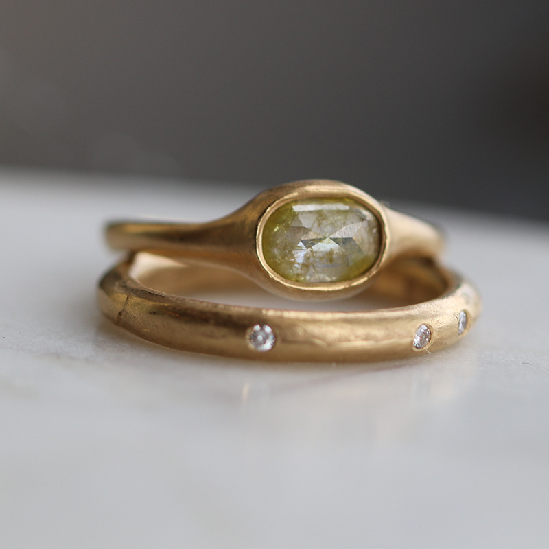 Yellow Rose Cut Diamond Gold Ring