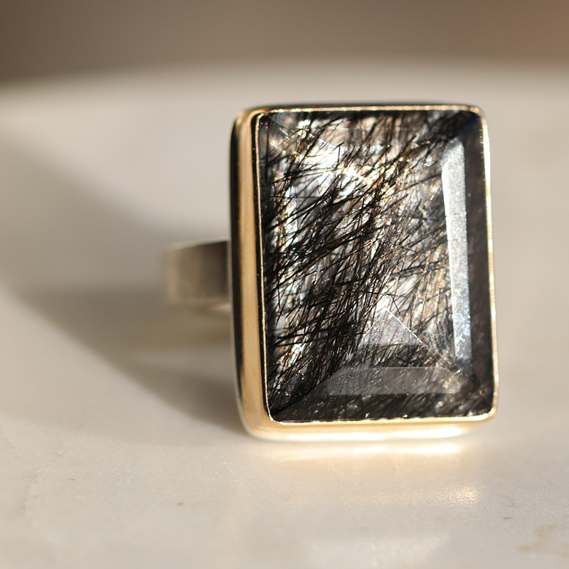 Tourminated Quartz Ring