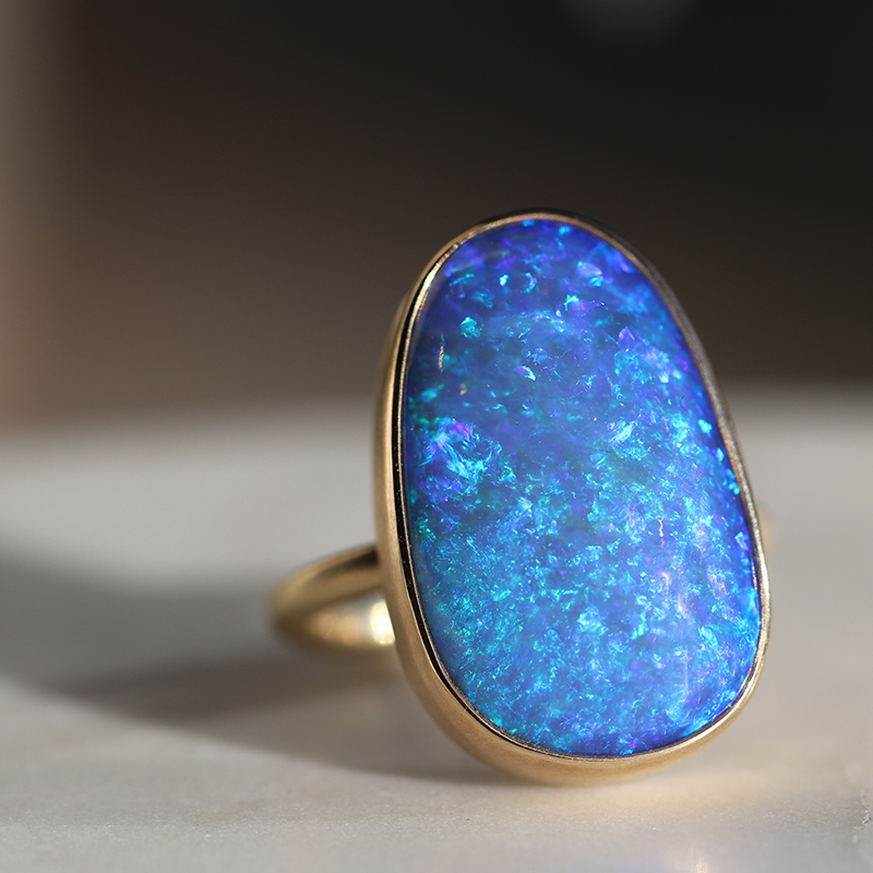 All Gold Australian Black Opal Ring