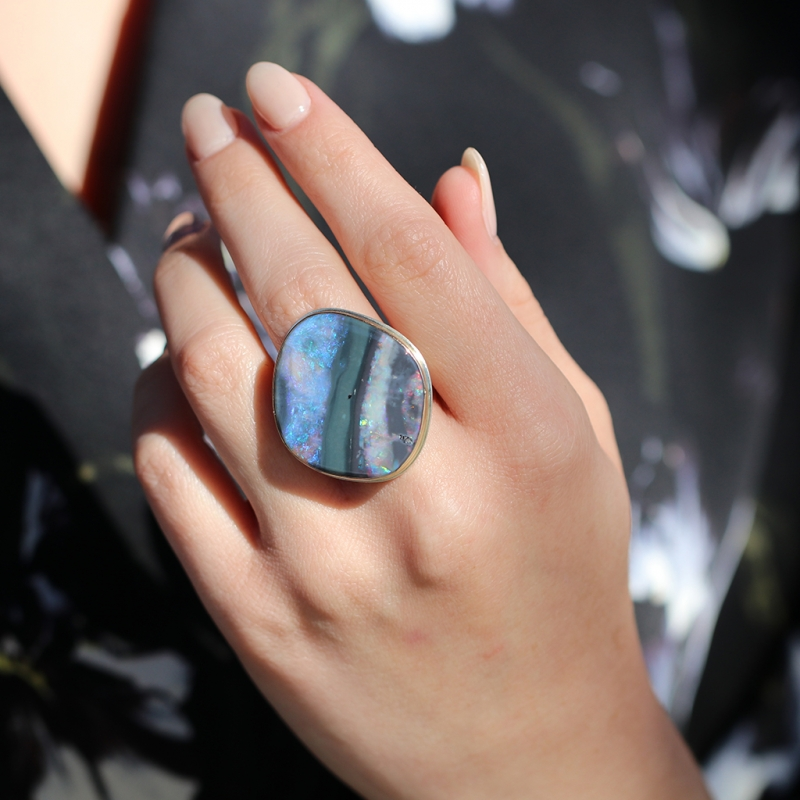 Large Boulder Opal Silver and Gold Ring