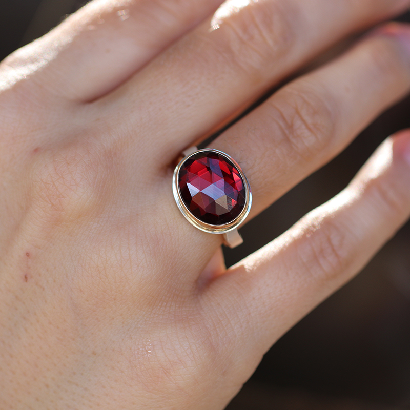 Garnet Oval 14k Gold and Silver Ring