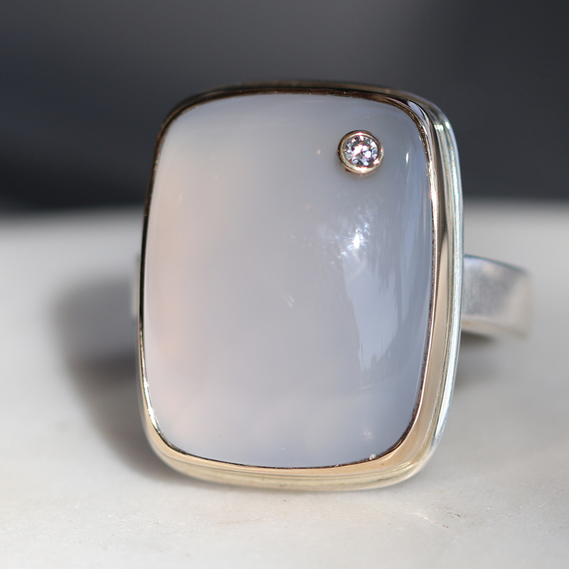 Blue Chalcedony Silver and Gold Ring with Diamond Accent