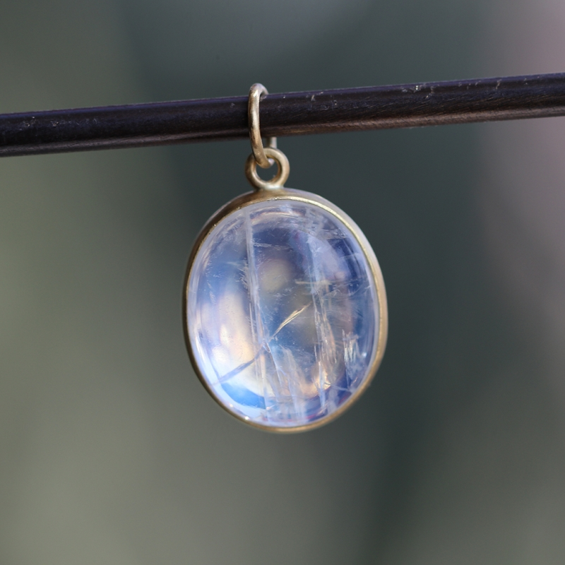 Amazing Blue Flash Rainbow Moonstone Pendant (Chain Sold Separat