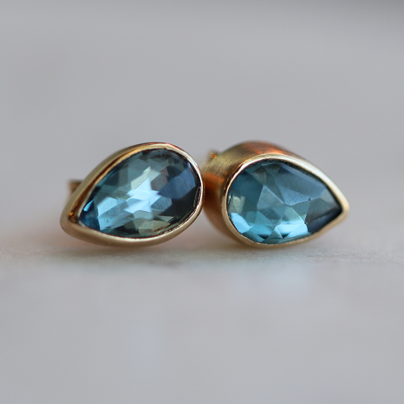 London Blue Topaz Teardrop Stud Earrings