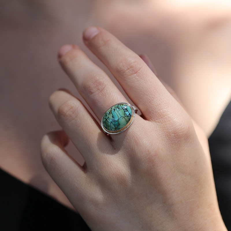Oval Silver and Gold Turquoise Ring