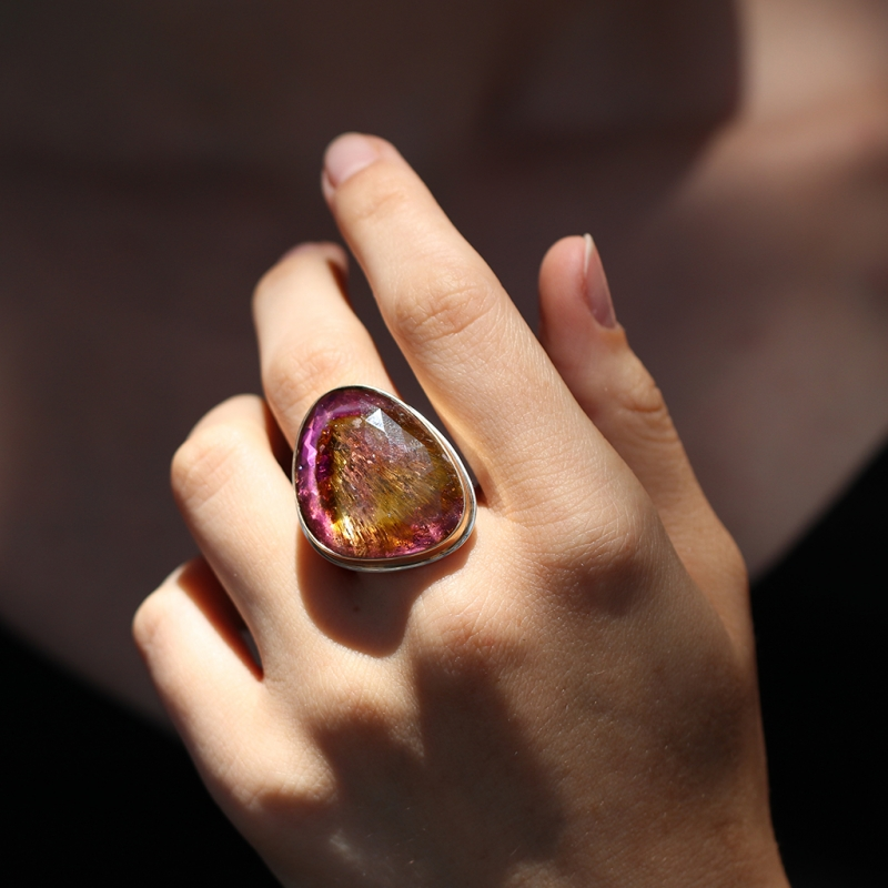 Rose Cut Watermelon Tourmaline Rutilated Ring