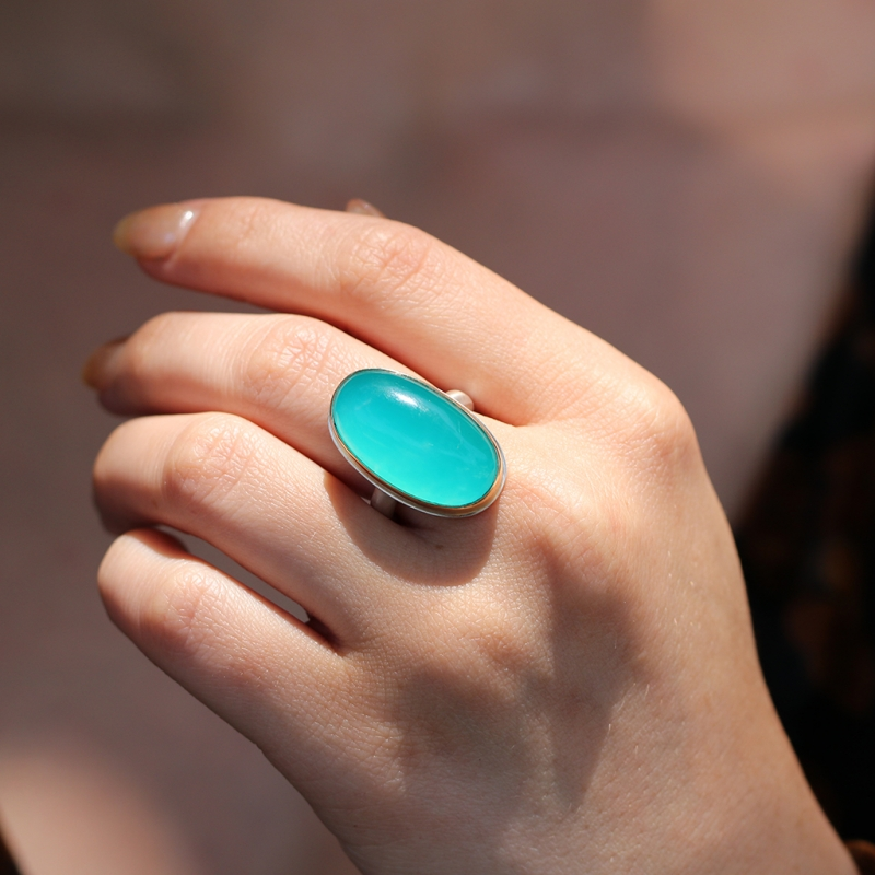 Vertical Oval Amazonite Ring