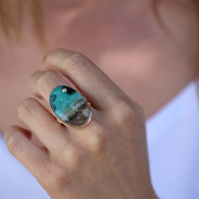Blue Indonesian Fossilized Opalized Wood Ring with Diamond Accen