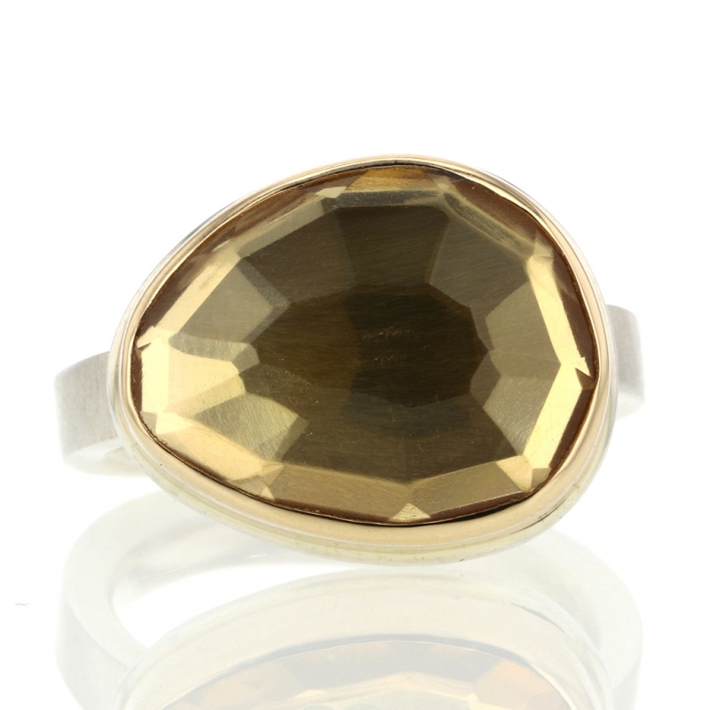 Silver and Gold Faceted Citrine Ring