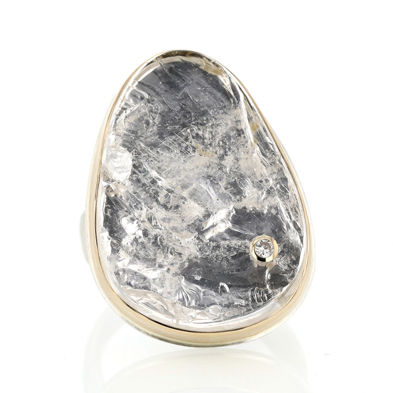 Vertical Surface Cut Rock Crystal Ring
