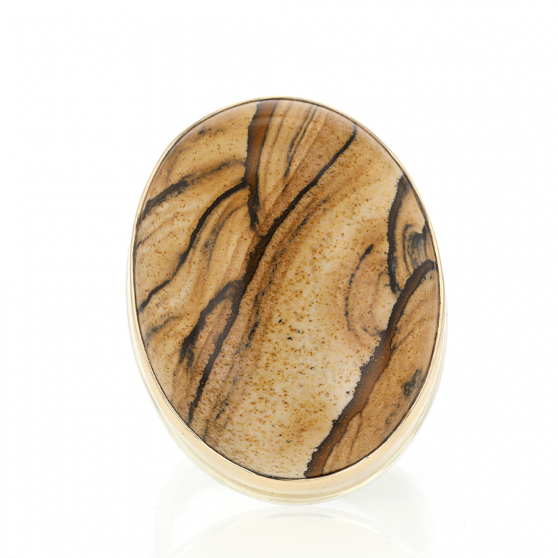 Vertical Oval Jasper Silver and Gold Ring