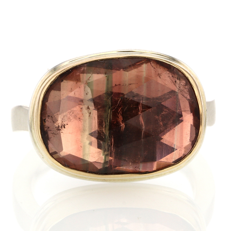 Unique Pink Tourmaline Silver and Gold Ring