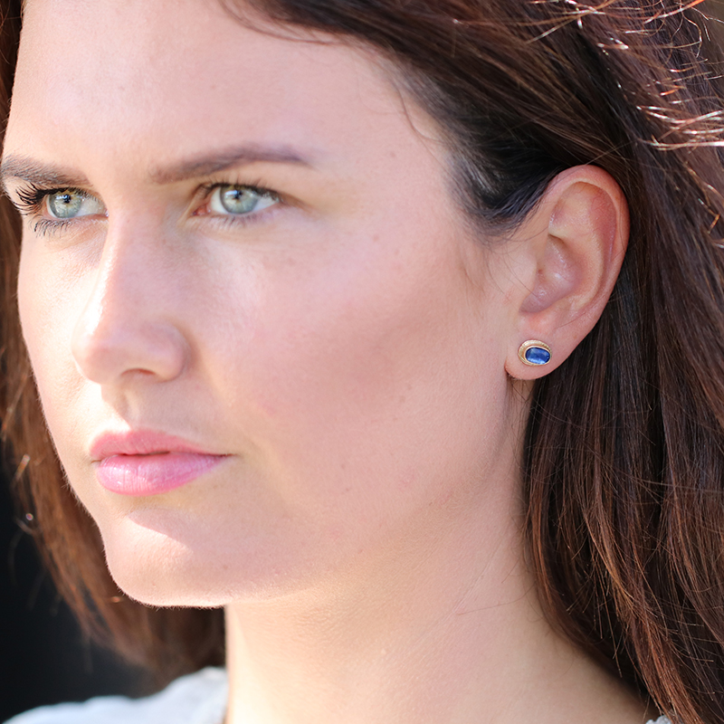 Gold Ruffled Platform Kyanite Stud Earrings