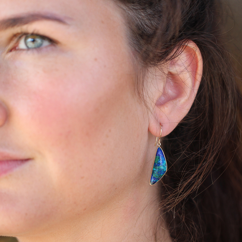 Malachite Azurite and Chrysocolla Earrings