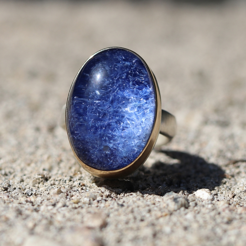 Dumortierite Quartz Oval Ring