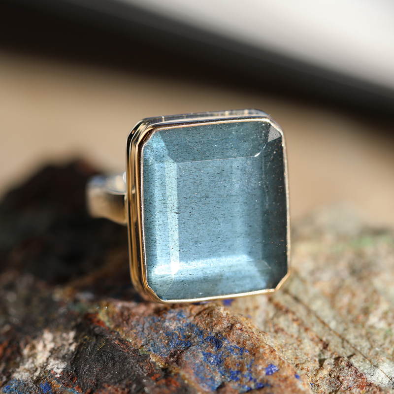 Vertical Moss Aquamarine Silver and Gold Ring