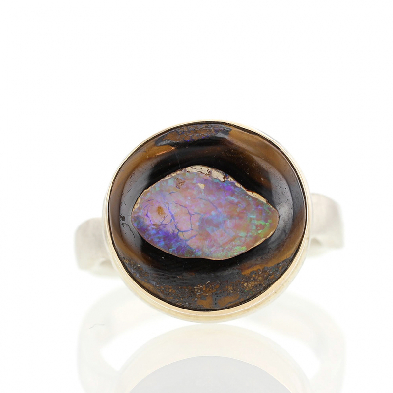 Yowah Nut Opal Silver and Gold Ring