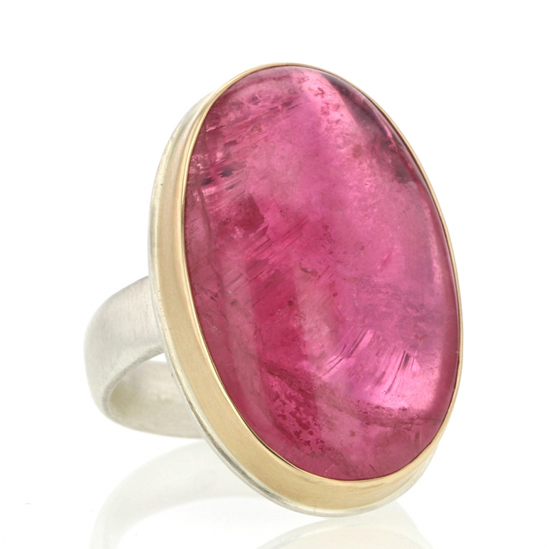 Siberian Tourmaline Silver and Gold Vertical Ring